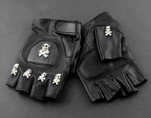 Image 3 - Gants sans doigts de motard en cuir pour hommes