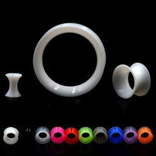 Showlove 2 pcs/lot Thin Silicone Flexible Skin Ear Tunnel Plugs Double Flare Hollow Gauges Expanders Ear piercing Body jewelry(China)