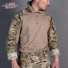 тактическая рубашка Emerson Blue этикетка G3 боевая рубашка футболка с камуфляжным принтом с налокотники, тонкие облегающие