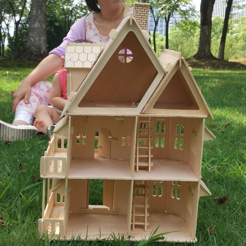 Wood 3D Puzzle House DIY Doll House Villa Model Assembled Miniature Dollhouse Educational Pretend Play Toys For Children Girls