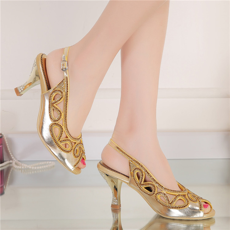 Summer 3Inches Wedge Heel Sandals Peep Toe Rhinestone Wedding Bridal Shoes Gold Crystal Slingback High Party Prom In Womens From