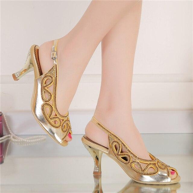 Été 3 Pouces Talon Compensé Sandales Peep Toe Strass Chaussures De Mariée  Mariage Or Cristal Bride