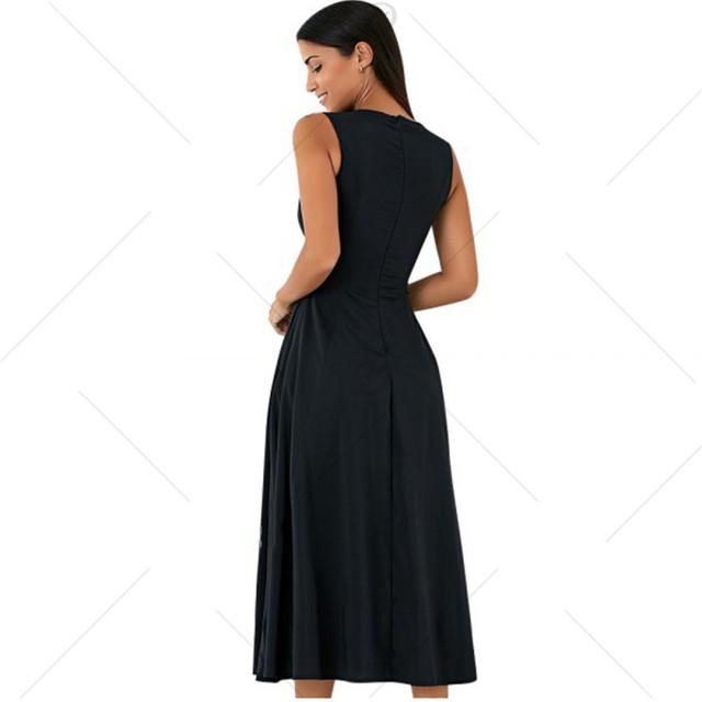 2017new Summer Women  Long Dress O-Neck Solid Color Sleeveless Female Dress High Waist Zipper Party Dresses Vestidos Plus Size
