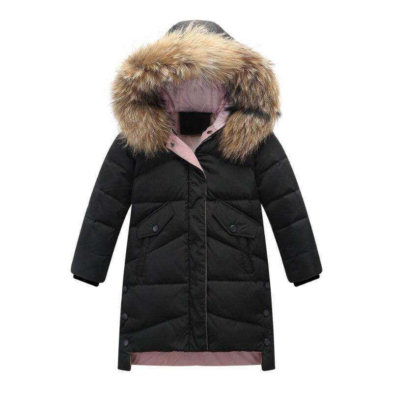 2019 Children Thick Warm Winter Down Jacket Girls Teenager Long Fur Hooded Down Coats Kids Parka Parent-child Outerwear Coats