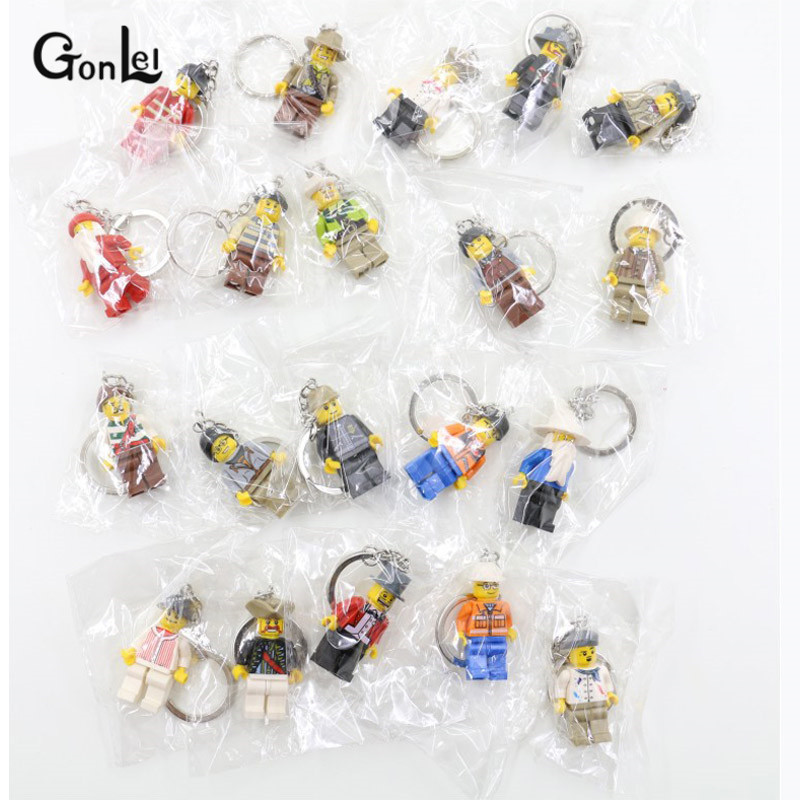 NEW 20Pcs/Set DIY Customize Chain Key Ring Keychains Hobbit Super Heroes SWAT Action Toys Playmobils Figures For Children