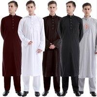 2019 Islamic clothing men muslim abaya and pants suit arabic dubai hot sale Jubba thobe for men solid black white plus size