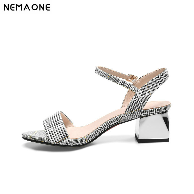 NEMAONE New Shoes woman Genuine Leather low Heels Sandals Summer gingham square Heel Sandals Ladies Party Shoes size 9 10 11 12 new women sandals low heel wedges summer casual single shoes woman sandal fashion soft sandals free shipping