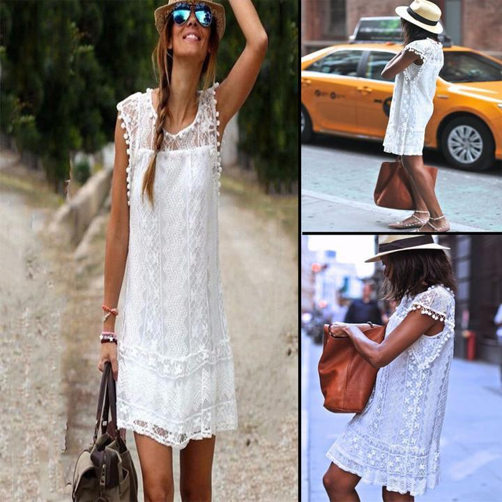 a0c1e49e6fe Nuw Summer BOHO CHIC BOHEMIAN LOOSE CASUAL WHITE EMBROIDERY DRESSES  HANDMADE CROCHET DRESS-in Dresses from Women s Clothing on Aliexpress.com