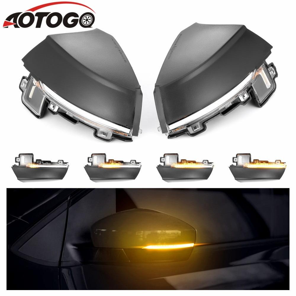 aotogo Dynamic Turn Signal LED Side Rearview Mirror Indicator Blinker Repeater Light For Volkswagen VW Polo