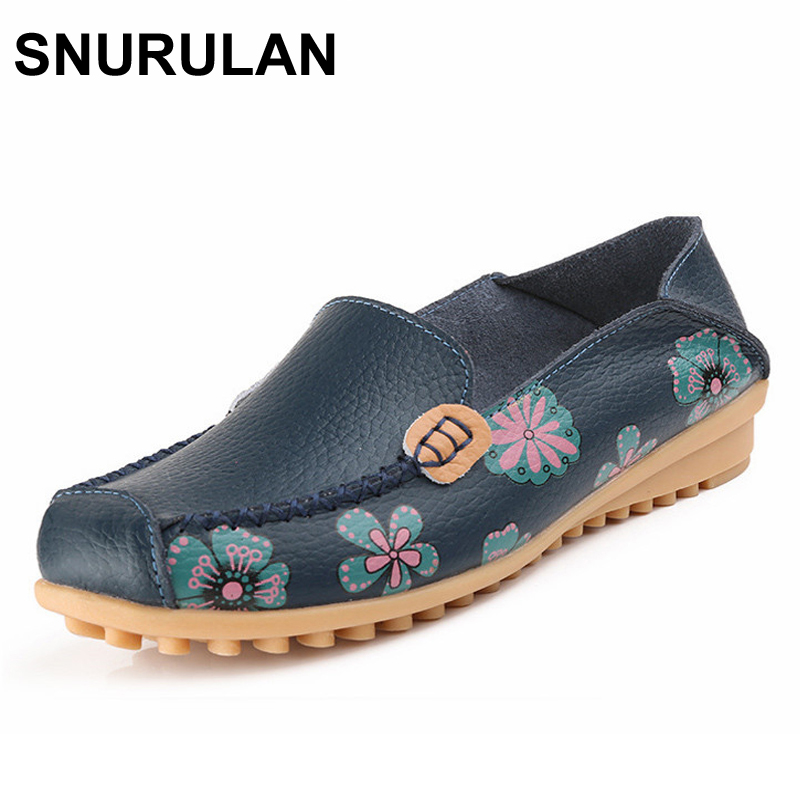 SNURULAN Printing Flower Genuine Leather Women Shoes Fashion Moccasins Shoes Woman Slip On Female Flats Casual Loafers Plus Size запонки gianni tonelli 12 b 1082 20 e