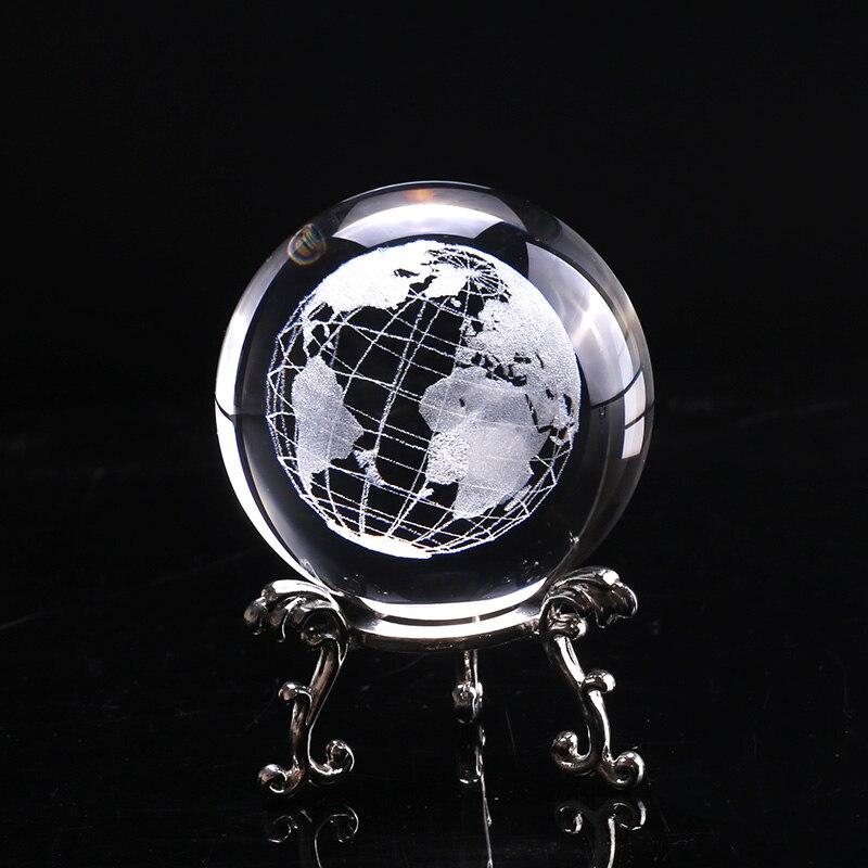 60 мм 3D Хрустальный шар, стеклянная лазерная гравировка, миниатюрная модель земли, сфера, хрустальное ремесло, орнамент, глобус, аксессуары д...