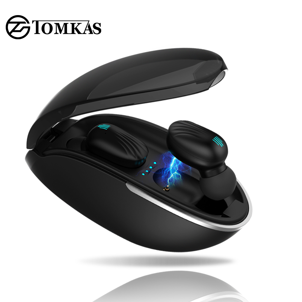 TOMKAS TWS Bluetooth Headphones 5 0 Headset Sport Wireless Earphone Stereo Earbuds Mini in Ear Dual