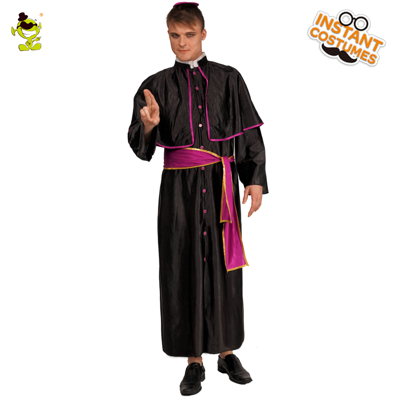 Adult Man's Ancient Missionary Cosplay Costumes Outfits for Devout Christian with Black Robe for Party Costumes