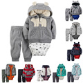 2017 New Baby Bebes Boy 3pcs Clothes set Hooded Jacket + Romper + Long Pants boy Girl clothing Soft Cotton infant
