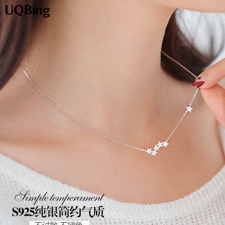 Drop Shipping 925 Sterling Silver Chain Necklaces Star Pendants&Necklaces Jewelry Collar Colar de Plata