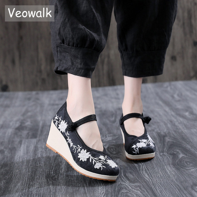 Veowalk Vegan Women Embroidered Canvas Wedge Platform Shoes Comfort Cotton Embroidery Vintage Ladies Casual Wedged High Heels