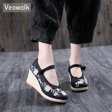 Veowalk Vegan kadın işlemeli kanvas kama Platform ayakkabılar konfor pamuk nakış Vintage bayanlar Casual kama yüksek topuklu