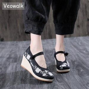 Image 1 - Veowalk טבעוני נשים רקום בד טריז פלטפורמת נעלי נוחות כותנה רקמת בציר גבירותיי מקרית תקוע עקבים גבוהים