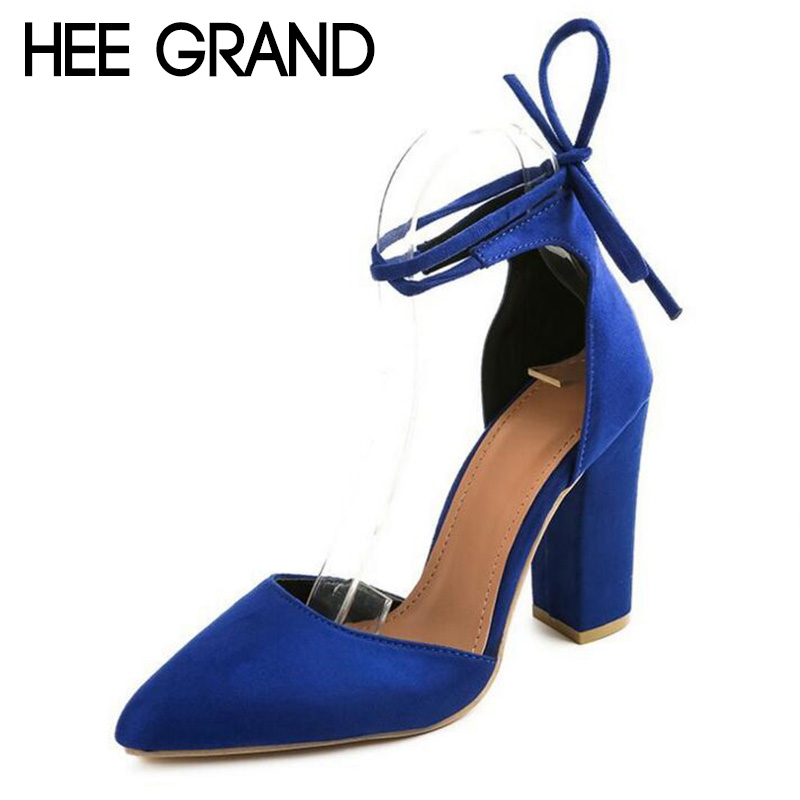 HEE GRAND 2018 New Women Thick Heel Summer Shoes Pointed Toe Cross-tied Ankle Lace Flock Vamp Lady's Mujer Fashion Pumps XWZ4925 hee grand cross tied women sandals summer sexy square high heels flock wedding shoes woman elegant pumps ladies 3 colors xwz2049
