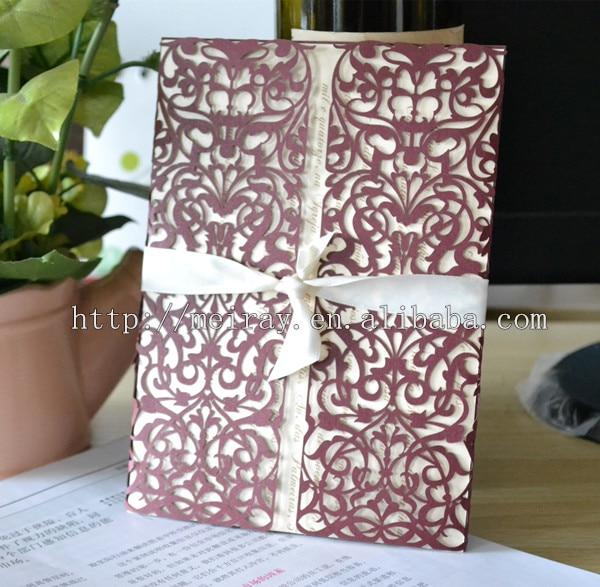 50pcs /lot laser cut elegant silver red wedding invitations chinese ...