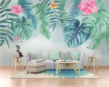 beibehang Custom size wall papers home decor Nordic minimalist small fresh green leaves watercolor style background 3d wallpaper