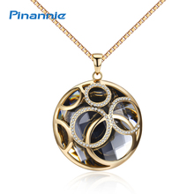 Pinannie Round Pendant Crystal Long Necklaces for Women Gold Color Costume Jewelry Party Gifts