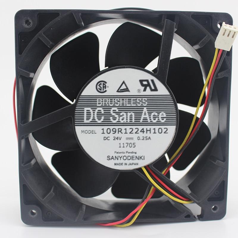 Sanyo 109R1224H102 DC 24V 0.25A 3-правадная 120X120X38mm сервера Square Fan