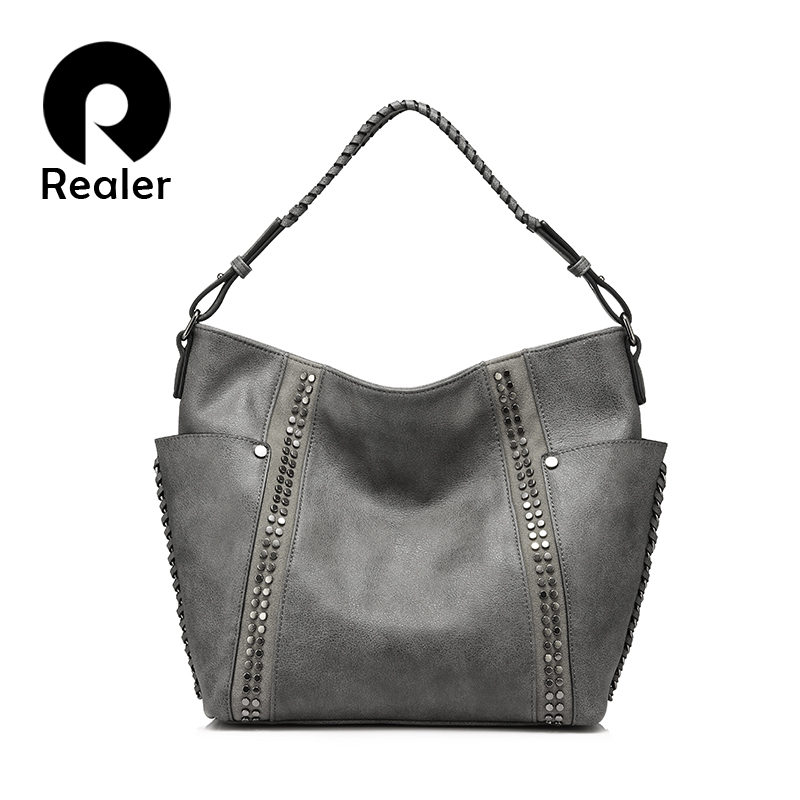 REALER women shoulder crossbody bags female casual totes ladies handbags large capacity fashion Rivet Messenger top