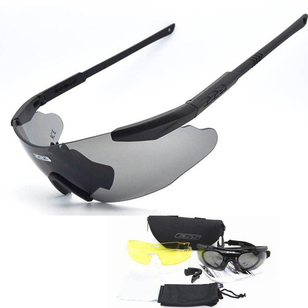 Prix pour 2017 Hommes lunettes de Soleil Militaire 3 Lentille ESS GLACE Lunettes de Sécurité Tactique Armée Lunettes TR90 Cadre En Plein Air Combat De Chasse Wargame
