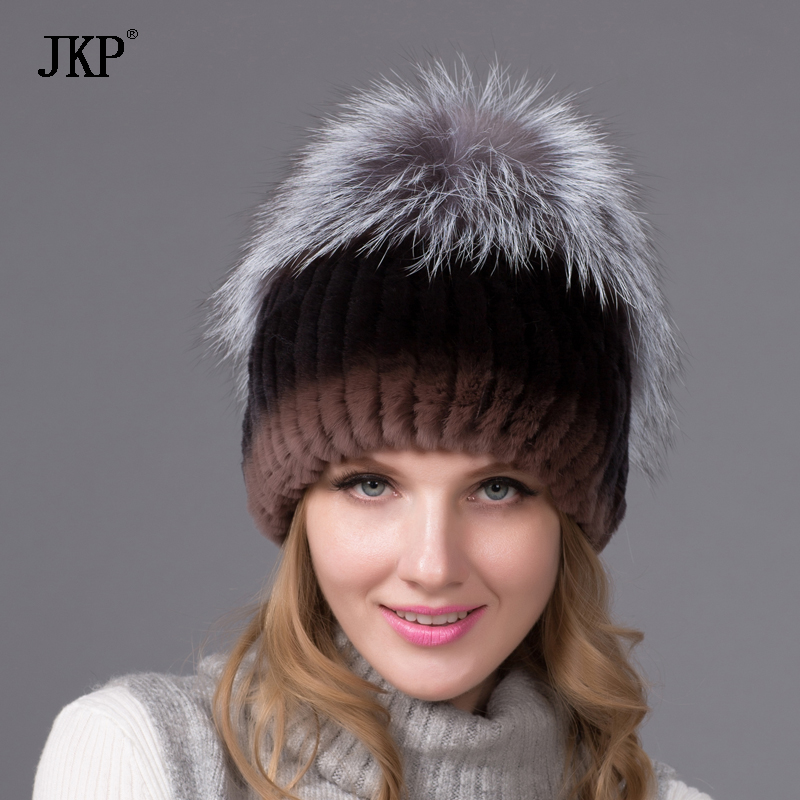 real natural Rex rabbit fur hat female winter thick warm knit cap women fox fur hat THY-09
