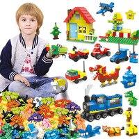715 1053PCS Small Building Blocks DIY Street Animal Car Toy For Children Small Bricks Gift Eye Sticker Instruction Base Plate