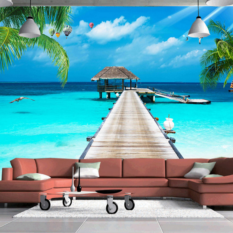 custom photo mural landscape 3D TV background wall Maldives sea wooden Palm tree landscape background wall painting wallpaper