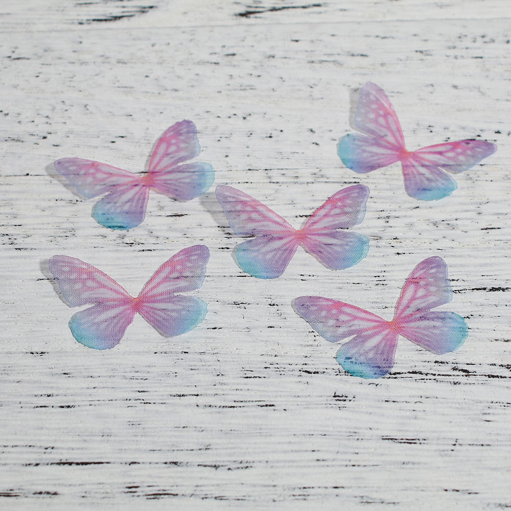 8SEASONS Organza DIY & Craft Ethereal Colorful Butterfly Animal Handmade Jewelry Accessories 30mm(1 1/8) x 21mm(8 2/8), 5 PCs