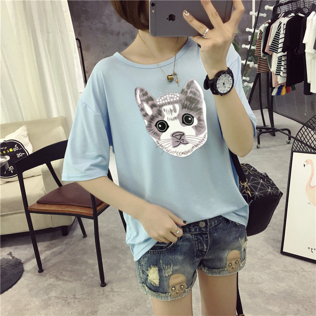 M22  T Shirt Women Cotton Elastic Basic T-shirts Female Casual   P30 1