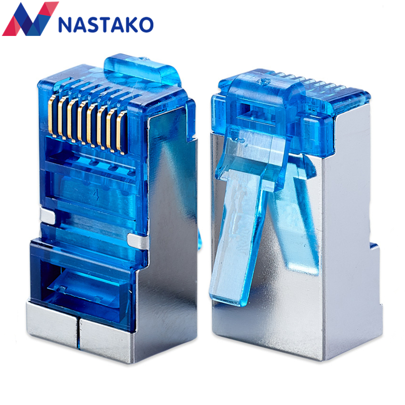 NASTAKO 20/50pcs Blue Cat6 Cat5e rj45 connector cat 6 network connectors rj45 plug metal shielded modular Jack terminals 2016 new 30 pcs metal shielded 8p8c rj45 plug network connectors w protective sleeve
