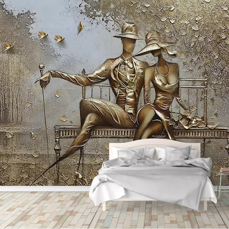 Foto Papel De Parede 3D Estéreo Ouro Figura Alívio Murais Sala de estar Quarto Fundo Papéis De Parede Para Paredes 3 D Papel De parede