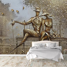Photo Wallpaper 3D Stereo Golden Relief Figure Murals Living Room Bedroom Background Wall Papers For Walls 3 D Papel De Parede(China)
