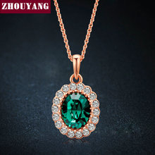 Elegant Created Emerald Gold Pated Green Colorful Crystal Pendant Necklace CZ For Women Wedding Party Top Quality ZYN247