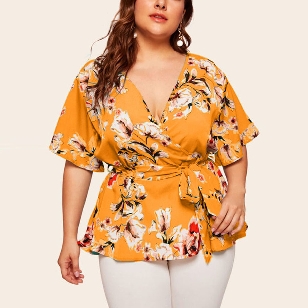 Blouse Women Plus Size Womens Tops And Blouses Shein Haut Femme Plus Size Casual V-neck Short-Sleeved Printed Waist Belt Top Z4
