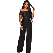 Summer new womens jumpsuit casual ladies embroidery water soluble lace word collar wide leg
