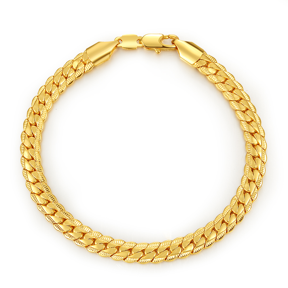 New listing of men 's bracelets wholesale 6MM retro gold ...