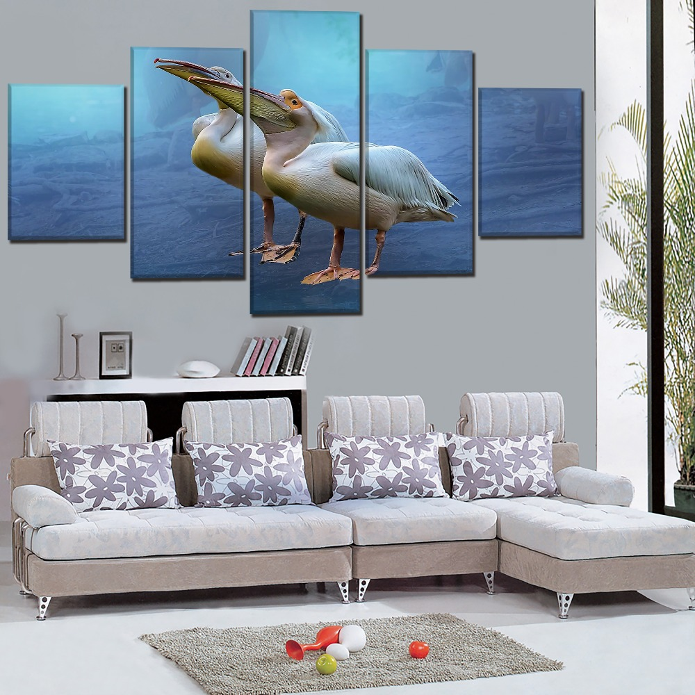 One Set 5 Pcs Wild Animal White Pelican Painting Modern Artwork On Canvas Printing Type And On The Wall Decor Modular Picture in Painting Calligraphy from Home Garden