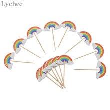 Lychee Life 24 шт., Мультяшные радужные топперы для капкейков, детские украшения для дня рождения вечерние дьбы, торта, флажки, поставки