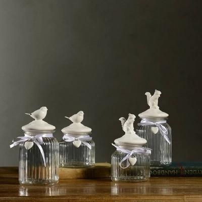 AIBEI-European Style Animal Glass Jar 1PC Large Bottle Dolomite Ceramic snacks nuts Storage Tank White Sealed Cans