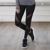 Quick Drying Net Yarn Yoga Pants Black High Waist Elastic Running Fitness Slim Sport Pants Gym