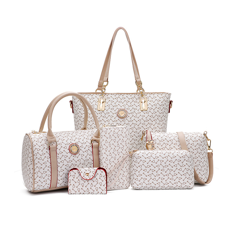 6 Pieces Diaper Bags Set Designer Tote Cute Nursing Bag Mother's Maternity Stroller Bag Changing Bags faux leather minimalist practical 3 pieces tote bag set page 6