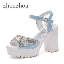 2016 Summer style Women's shoes wedge thick with high heel sandals female platform sequins diamond waterproof platform peep-toe