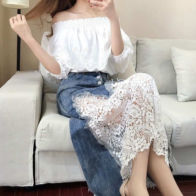 Women 2018 Autumn New Lace Blouse And Long Skirt Denim Suits Casual Off Shoulder Hollow Out Ruffle Two Piece Sets