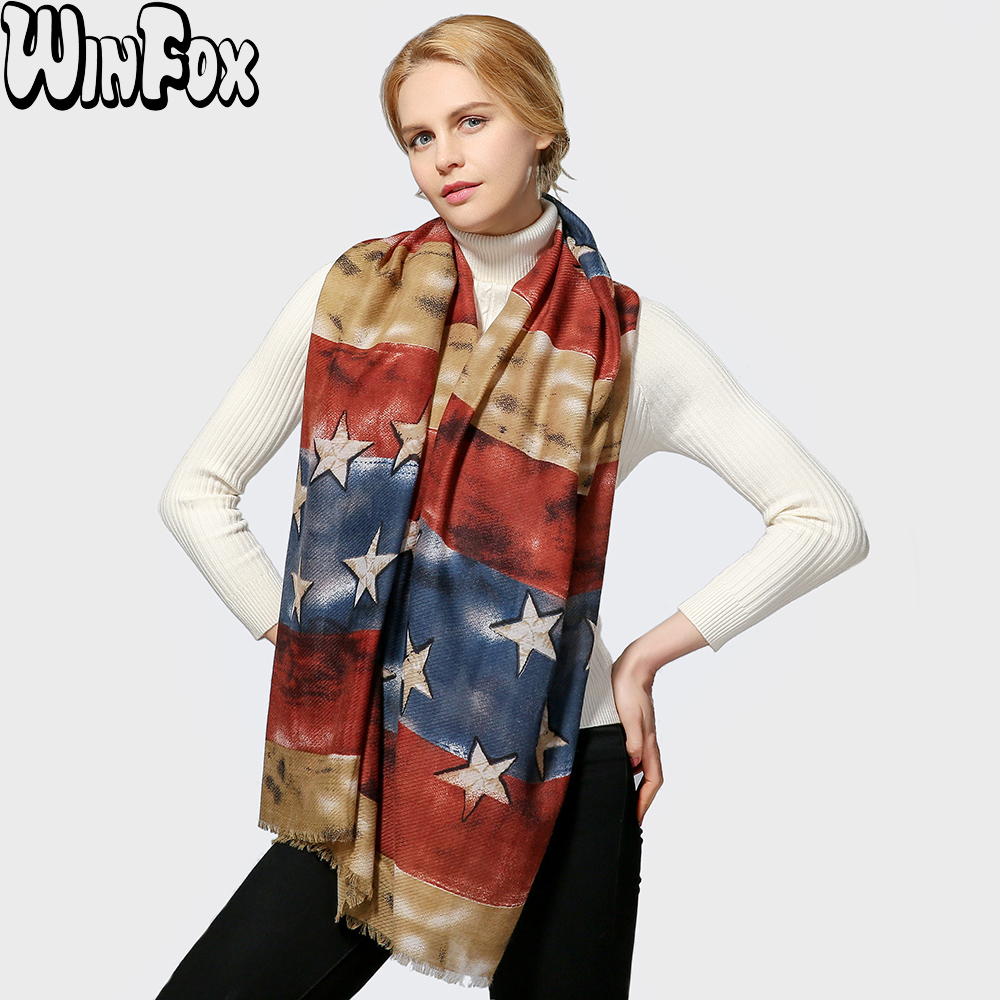 Winfox 2018 New Europe Luxury Brand Vintage Red Blue Star Long   Scarf     Wraps   Echarpe Shawl Womens
