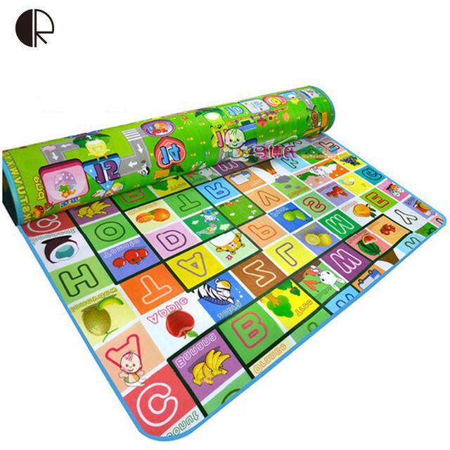 Brinquedos do bebê Jogar Mat 2017 Nova 180 cm * 200 cm Duplo-Site Enigma Tapete Frutas Letters Feliz Fazenda crianças Tapete Para tapete de Piquenique HK1115